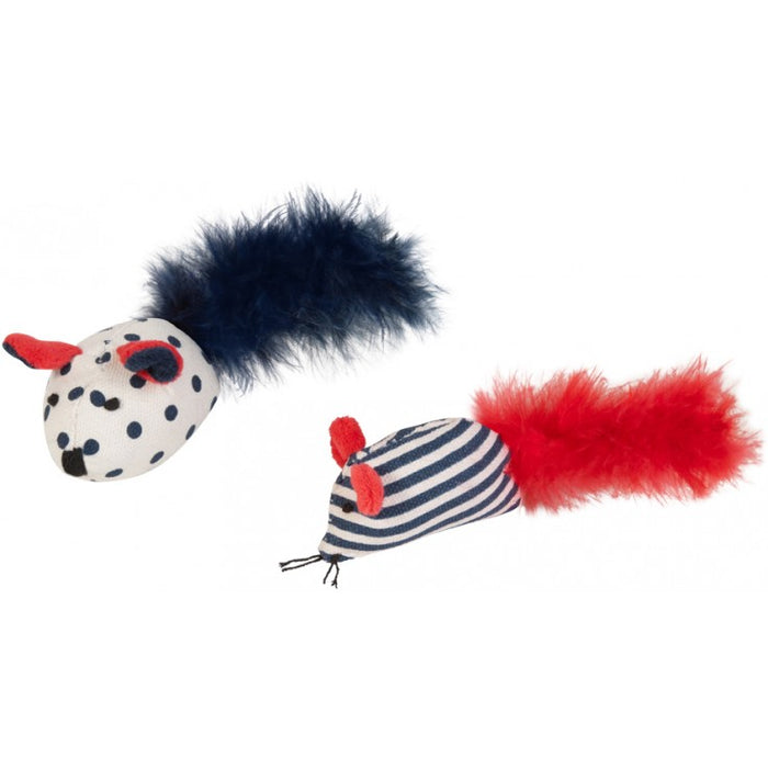 Chomper Nautical 2 Pack Mouse With Feather
