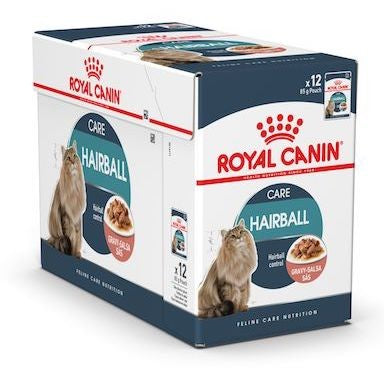 Royal Canin Wet Food - Hairball Care in Gravy (12 X 85G Pouches)