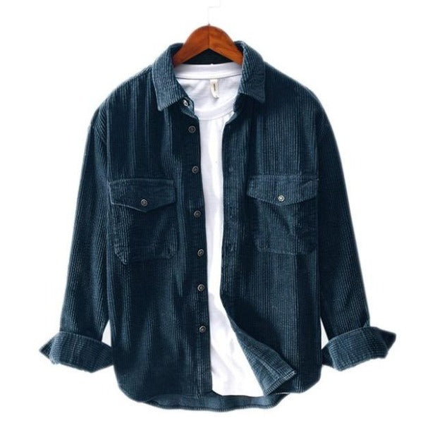Solid Corduroy Pockets Shirt