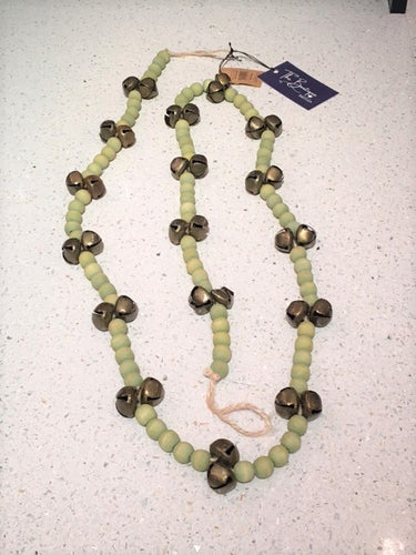 Green Wood Bead Garland with Jingle Bells