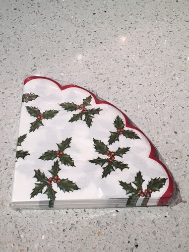 Talking Tables Scalloped Holly Berry Napkins