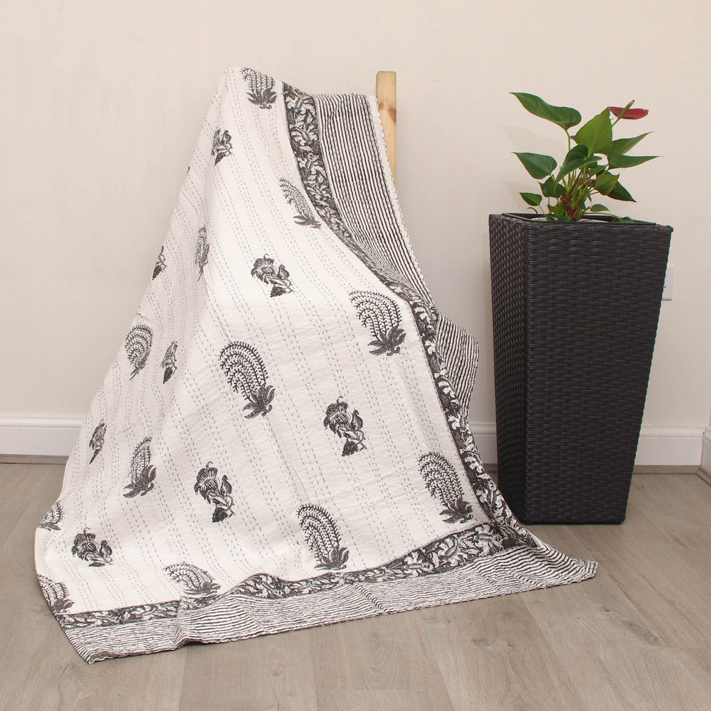 Details about  /Indian Embroidery Kantha Quilt Bedspread Block Print Throw Cotton White