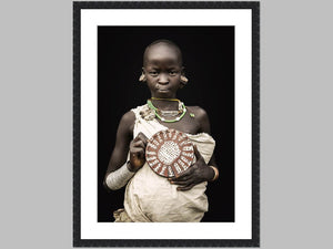 """Girl With Art"" Open edition Cotton Rag print in black grain frame"