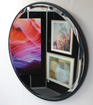 SR Rome black framed round mirror
