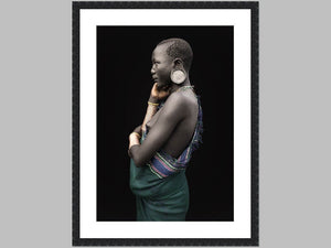 """Thoughtful"" Open edition Cotton Rag print in black grain frame"