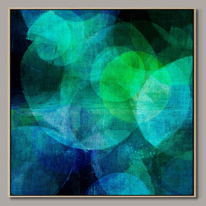 Blue and green circles Framed Canvas
