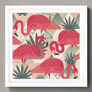 Jungle pink flamingos