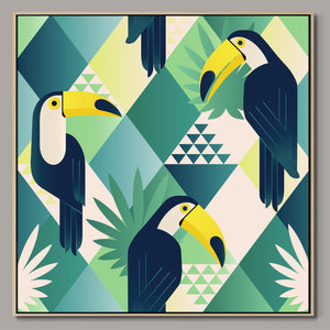 Jungle toucans Framed Canvas