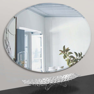 oval mirror - silver edge
