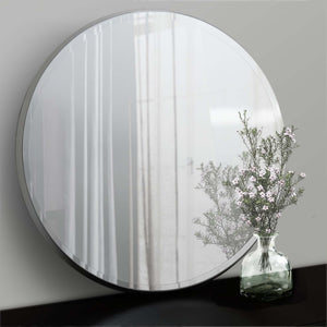 Eclipse Round mirror with silver frame