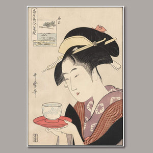 The tea house waitress Framed Canvas