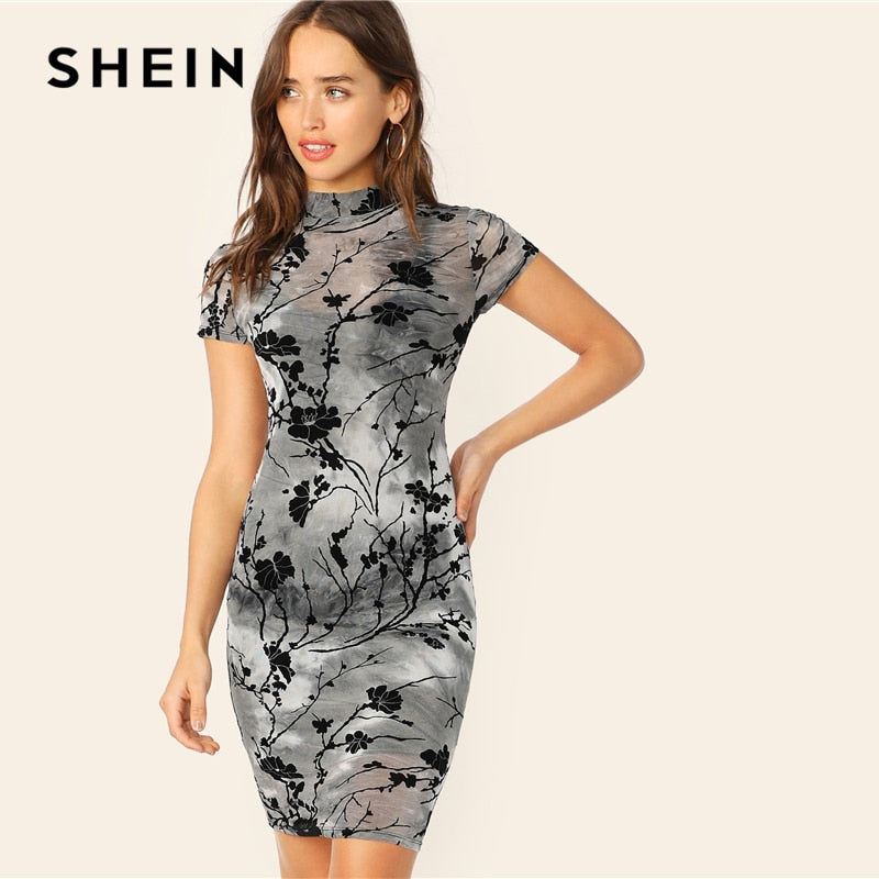 cd7e02595f Load image into Gallery viewer, SHEIN Chinese Style Grey Ink Painting Sheer  Bodycon Pencil Summer ...