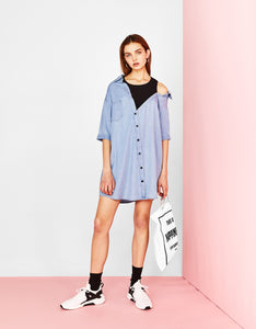 VK2110 Fake Two-piece Stitching Off-the-shoulder Denim Shirt Dress
