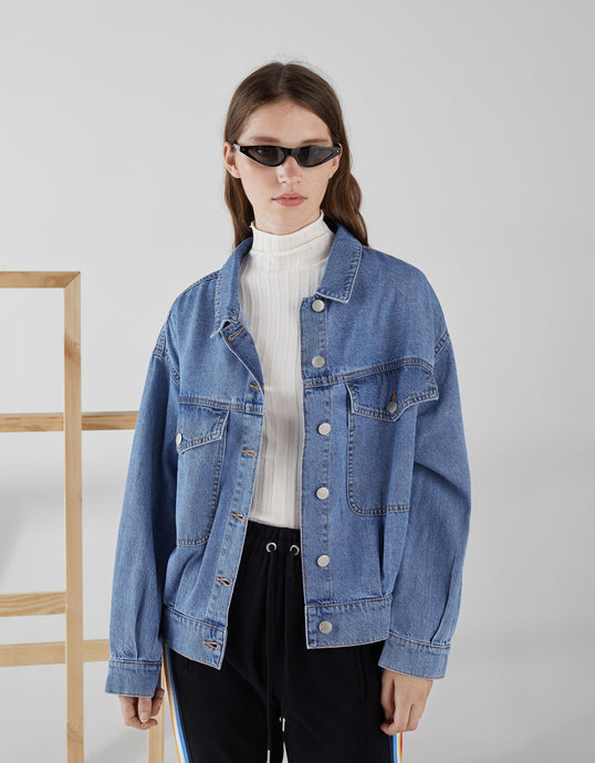 VK2116 New Thin Loose Short Denim Jacket