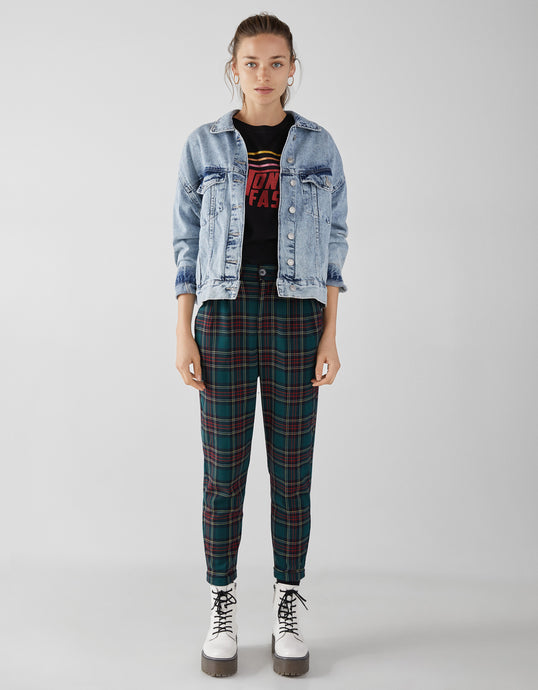 VK2128 Colorblock Plaid Slim Casual Pants Jogging Trousers