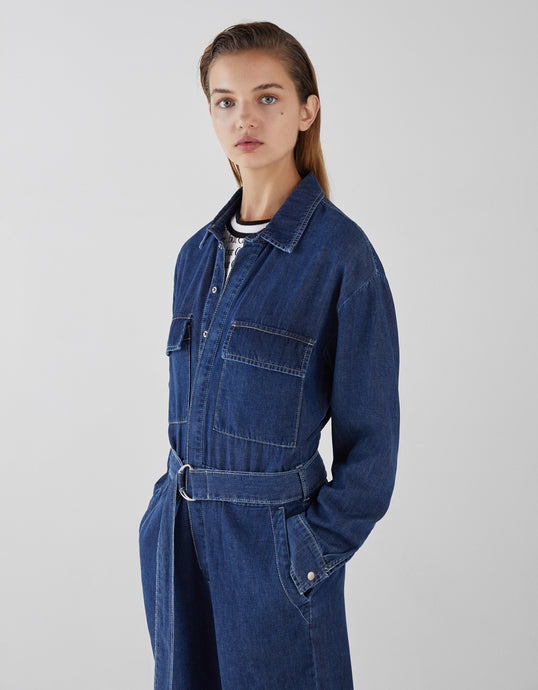 VK2129 Tooling Loose High Waist Long Sleeve Button Denim Jumpsuit
