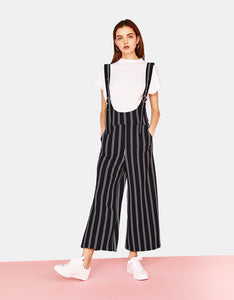 VK2130 Wide Leg Slim Casual Trousers Striped Suspenders