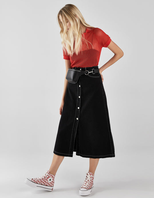 VK2137 Street Black Slim High Waist Half-length Denim Skirt