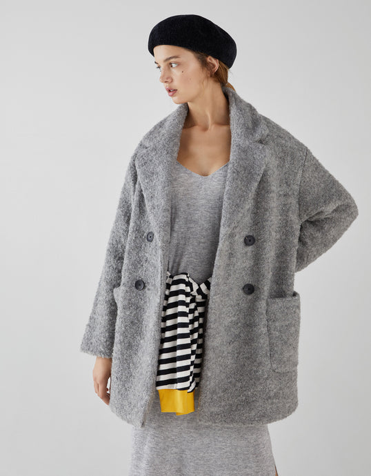 VK2161 Grey Double-breasted Mid-length Wool Coat
