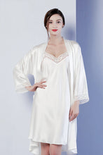 Bella - Silk Pajamas Robe Suit, Two-piece Set, Home Wear - silkdaily