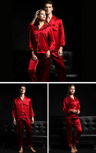 Jill - Couple Silk Pajamas Suit, Long Sleeves Two-piece Set, Men/women - silkdaily