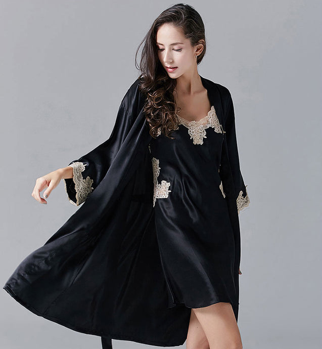 Fatima - Silk Sexy Pajamas Robe Suit, Two-piece Set With Lace Decoration - silkdaily