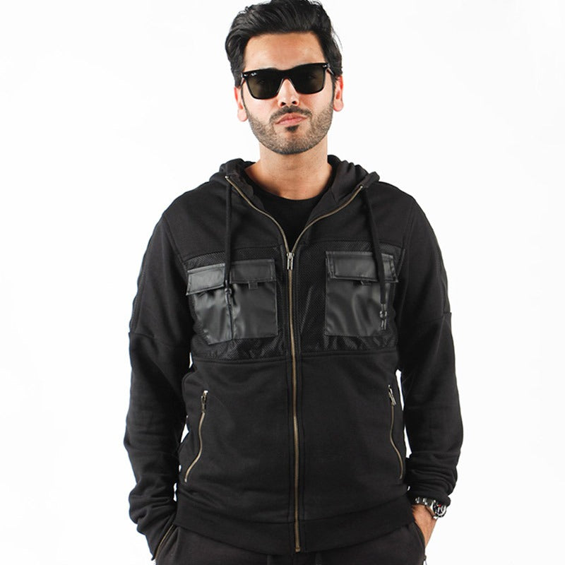 Black Zip Hoodie Jacket With Chest Leather Pocket For Men