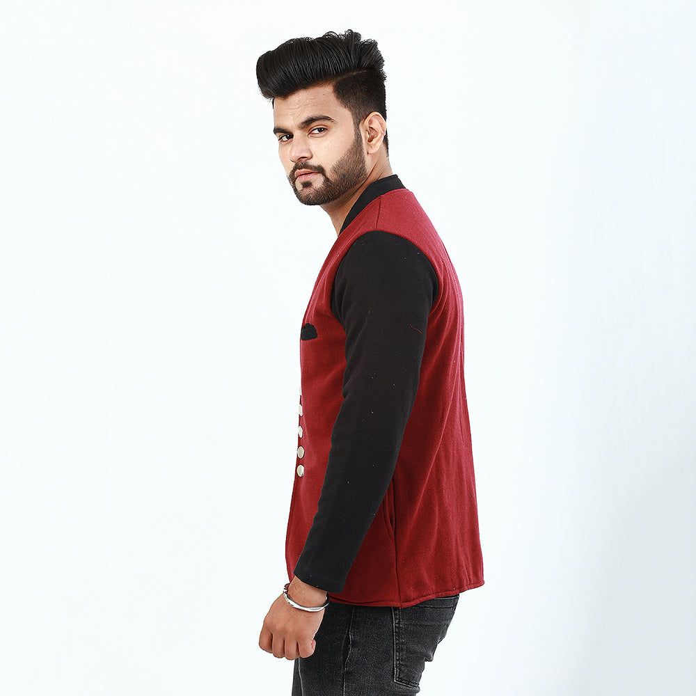 Maroon And Black Button Coat For Men