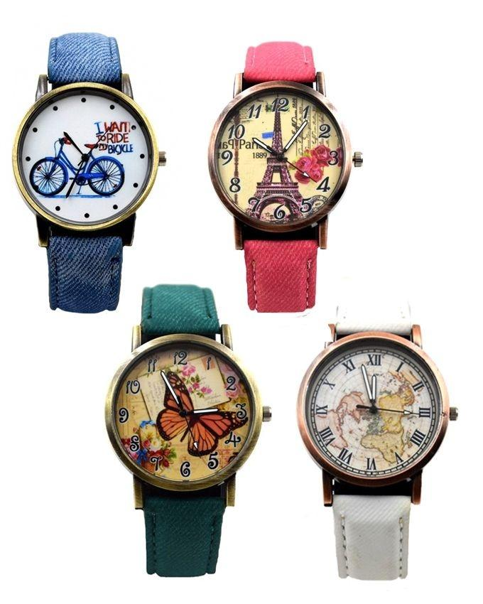 Pack of 4 - Multicolor Denim Analog Watches For Women