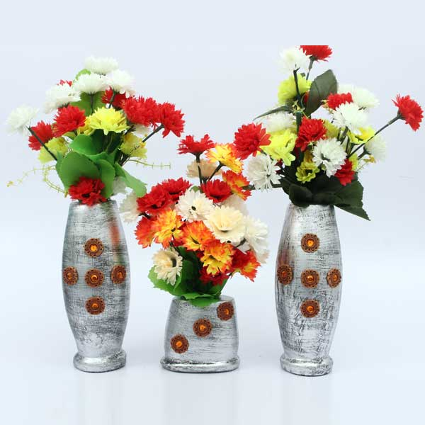 Pack Of 3 Artificial Vase Decoration Set with Multi Flowers