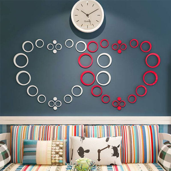 Heart Shape Rings DIY 3D 2mm Acrylic Wall Art (48*48 Inches)