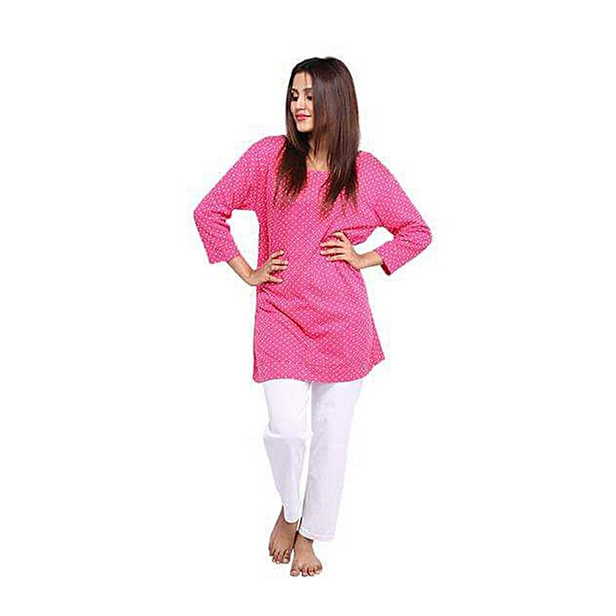 Aybeez Pink Dotted Top & White Pajama For Women