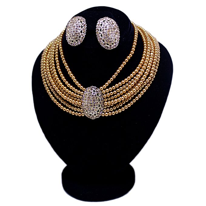 Golden Jewelry Set with Center Golden Stone - Golden