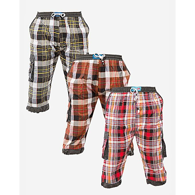 Pack of 3 - Multi-color Cotton Check Shorts for Men