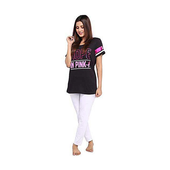 Black Printed T-shirt & White Pajama For Women