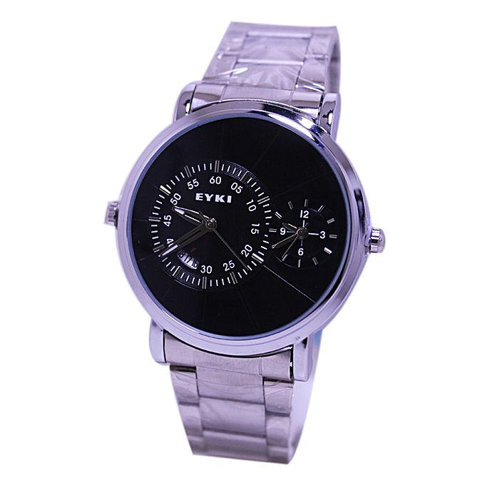 Eyki KC Stainless Steel Dual Time Analog Watch for Men - Silver