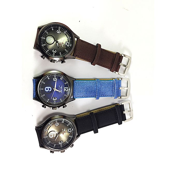 Aybeez Pack of 3 Jeans Strap Watch For Men