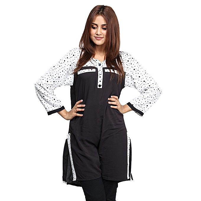Black & White Dotted Sleeves Top For Women