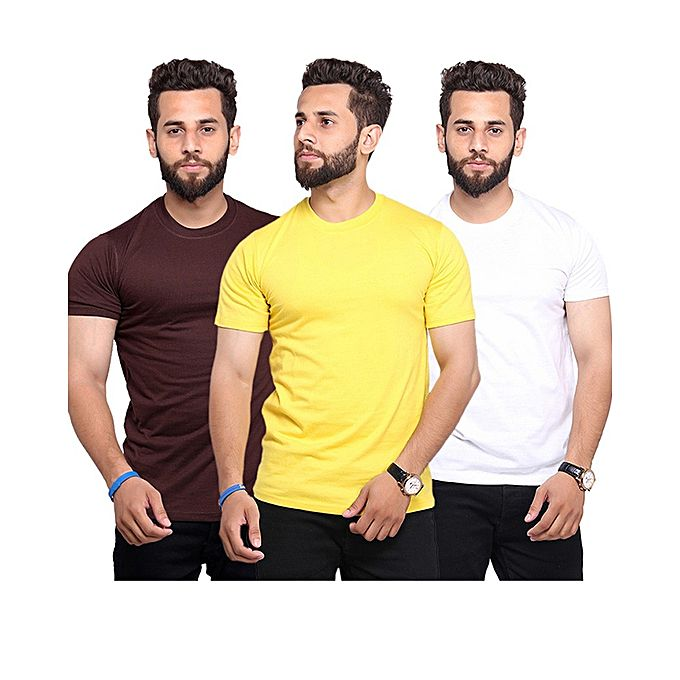 Pack Of 3 Round Neck Half Sleeves T-Shirts For Men
