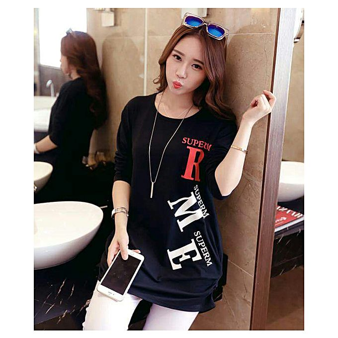 Black Round Neck Printed T-shirt For Women