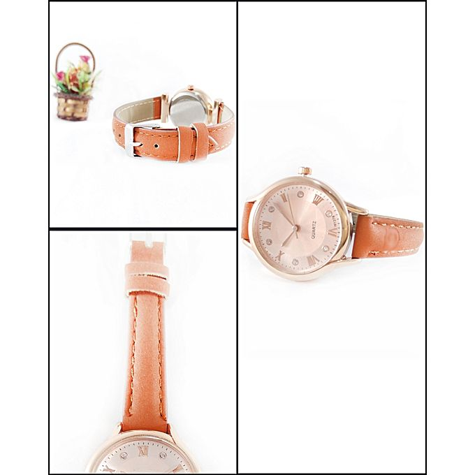 Brown Leather Strap Watch For Men