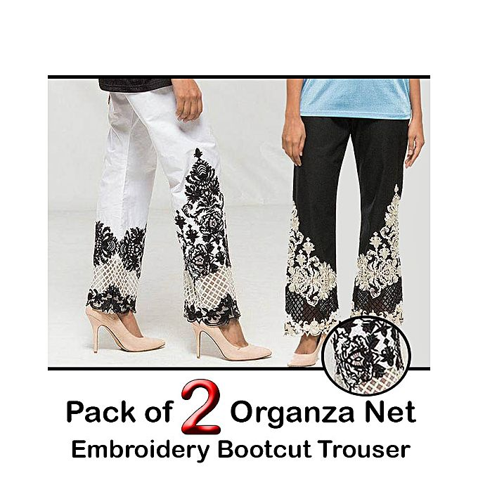 Pack of 2 Organza Net Embroidery Bootcut Trouser for women