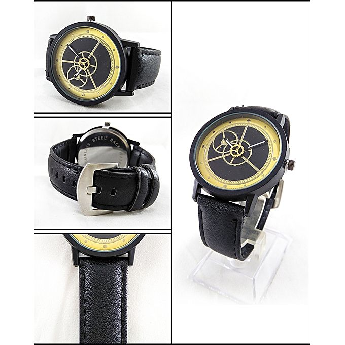 Black Leather Strap Watch For Men