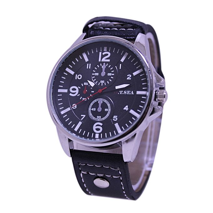 O.T.Sea Black Leather Strap Analog Watch For Men - Black
