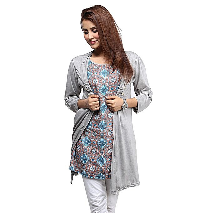 Grey Printed Top For Women