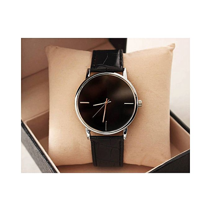 Black Leather Strap Stylish Watch For Men