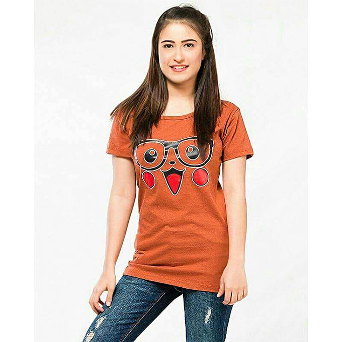 Orange Printed T-shirt For Women