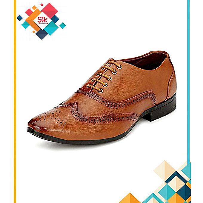 SIK Collection Mustard Italian Stylish Lace-Ups Embroidery Designs Formal Shoes For Men