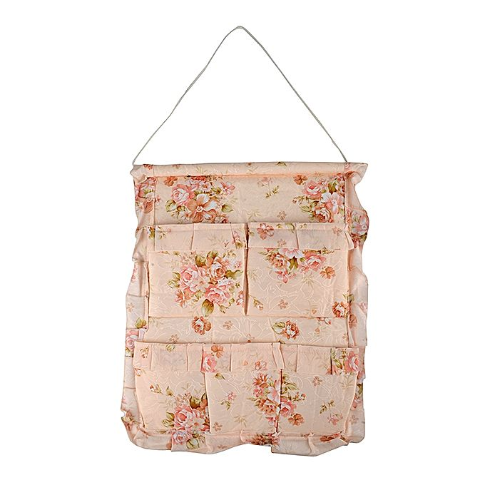 "5 Pockets Wall Hanging- Beige with Flower (15""x 18"")"