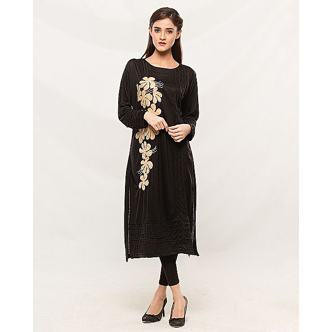 EMBROIDRY BLACK KURTI FOR WOMEN